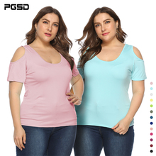PGSD Summer simple casual Tee solid colour O-Neck Short sleeve strapless big size T-shirt 5XL female Fashion plus women clothes