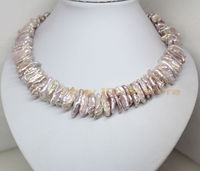 Wholesale >>On Sale! natural light lilac biwa pearl necklace 18'long fashion jewelry