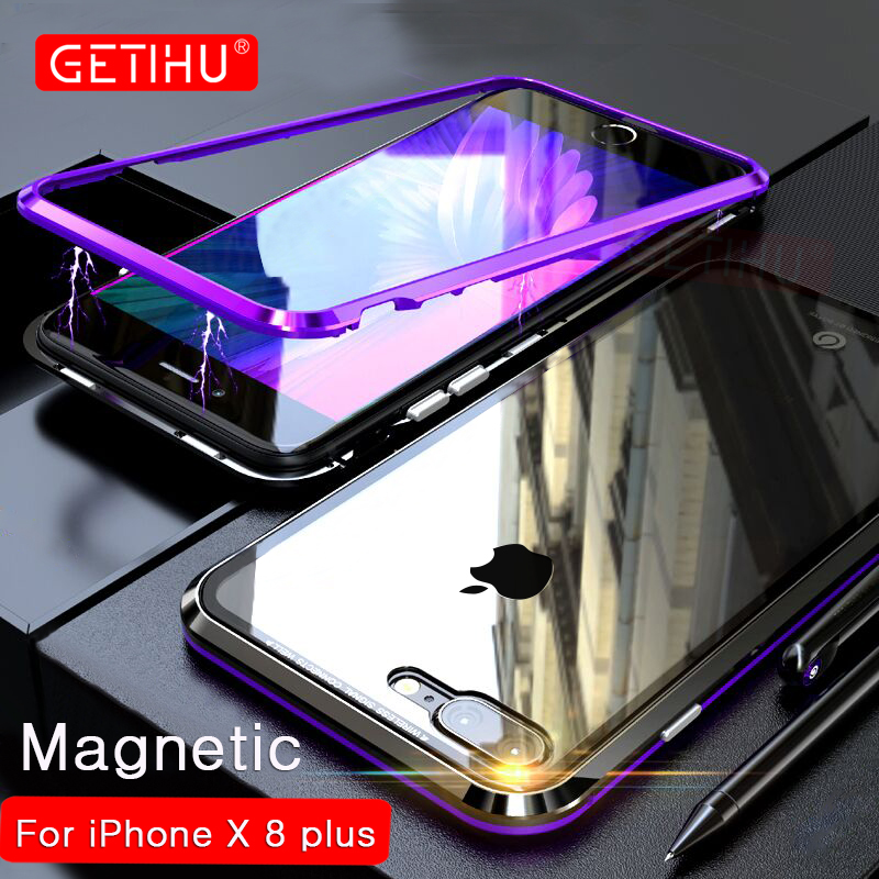 GETIHU 360 Magnetic Adsorption Case for iPhone X 8 Plus 7 6 6S + Tempered Glass Back Cover for iPhone 7 8 6 6S Plus X Hard Case
