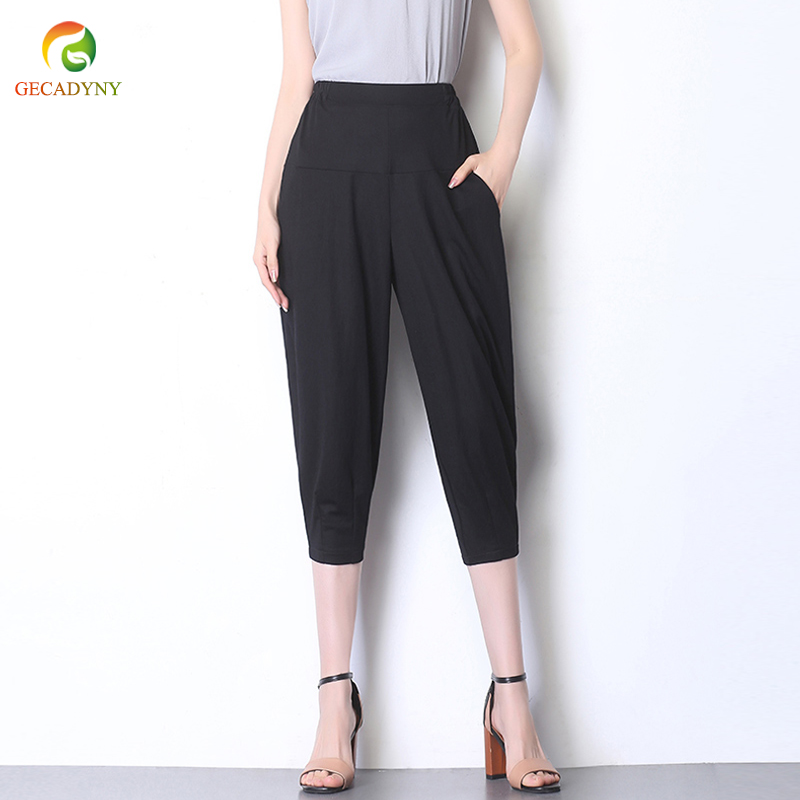 High Waist Harem   Pants     Capris   Casual Black Harem   Pants   For Women Solid   Pants   Female Fashion Clothing Plus Size S-6XL