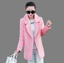 2016New Winter Woolen Jacket Female Korean Medium Long Type Cocoon Pink Woolen Coat Women Casual Loose Big yards Coat S-XXLG0482