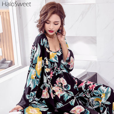 Summer Ice Cotton Sleepwear Women Pajamas Nightgown Pijama Sling Sexy Lingerie Babydoll Indoor Bathrobe Robe Pants Suit