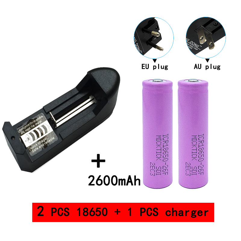 2PCS 18650 3.7V 2600mAh Battery lithium <font><b>Li</b></font> <font><b>Ion</b></font> Rechargeable Flashligh+18650 14500 16340 AA AAA batteries <font><b>charger</b></font> free shipping