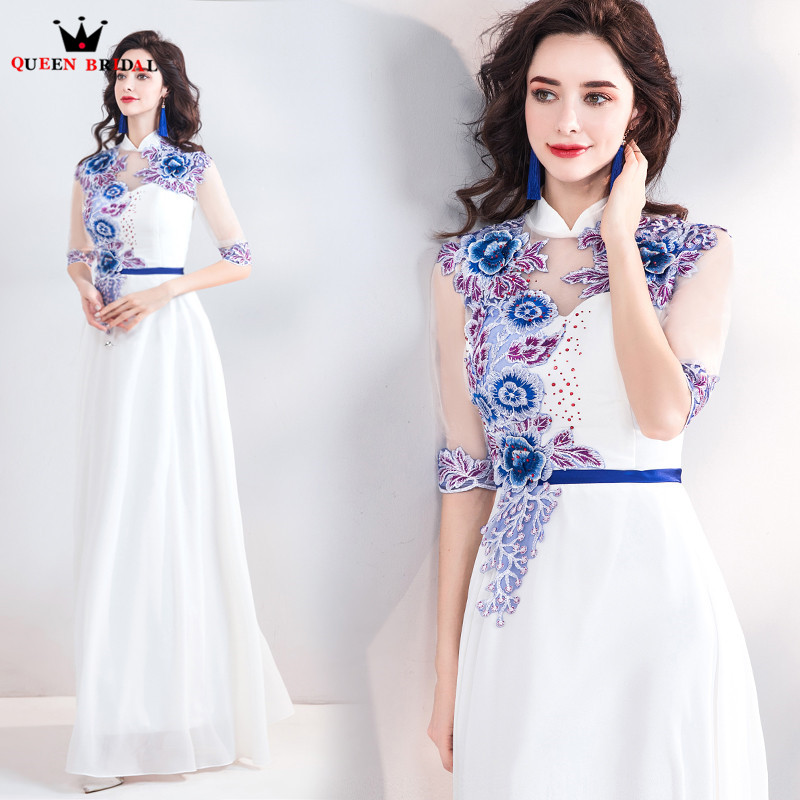 A-line High Neck Chiffon Embroidery Flowers Long Elegant   Evening     Dresses   2018 New Arrival   Evening   Gown Robe De Soiree JU42