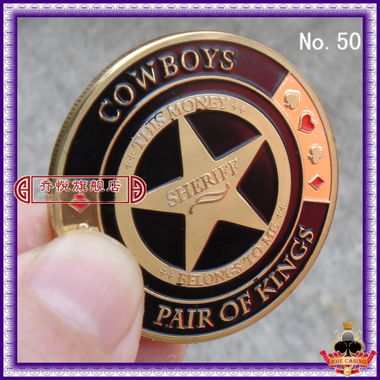 Metal for Pressing Poker Cards Guard Protector No.50 COWBOYS PAIR OF KINGS  Poker Chips Souvenir Coins