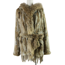 free shipping lady knitted Real rabbit fur coat/ jacket/ outware with hood women belt long with tassels 2019 Brazil hot sale free shipping kid s100% cashmere cape with real fur trim length 30cm 6inch twisted fur with hood