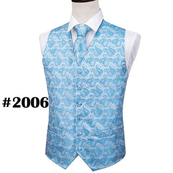 Designer Mens Classic Black Paisley Jacquard Folral Silk Waistcoat Vests Handkerchief Tie Vest Suit Pocket Square Set Barry.Wang 27