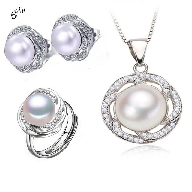 2017 Fashwater Pearl Women's Fine Bridal Jewelry Set 3 Color S925 Silver Sterling Button Pendants/ring/Earrings 10-11mm