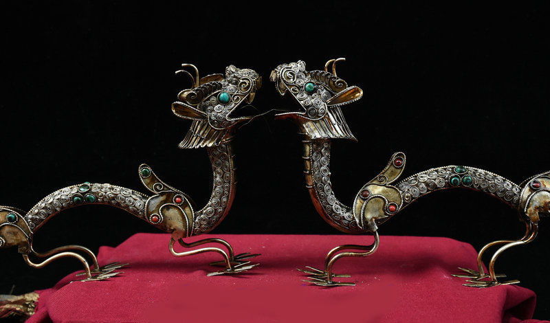 christmas Collection Tibet Silver wire inlay Gem handcrafted Dragon Pair Feng Shui Statue New Year