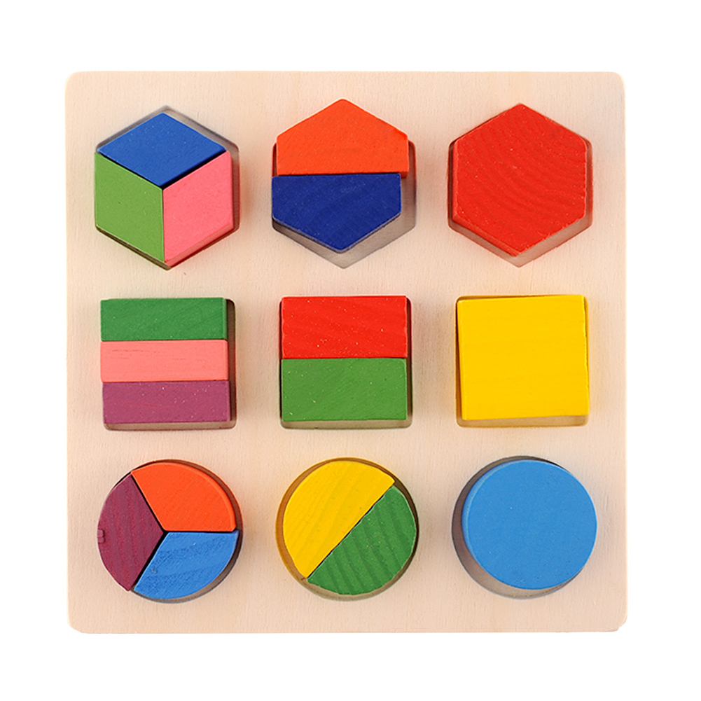 WOTT Intellectual Geometry Toy Early Educational Kids Toys Building Block Wooden Shape Interesting Toys Age 3 years