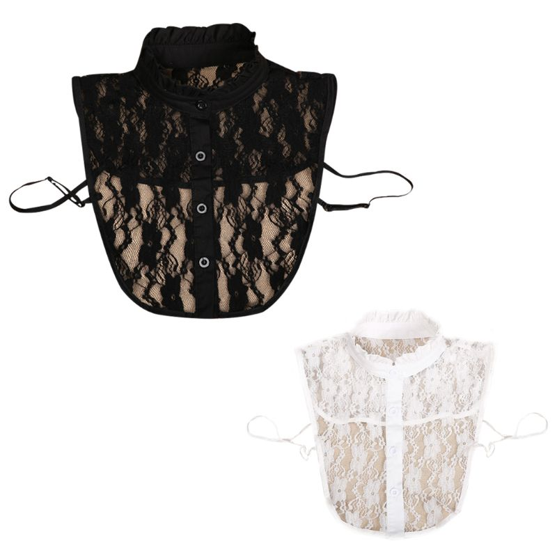 Fashion Women Solid Shirt Cotton Lace False Collars White & Black Blouse Vintage Detachable Adjust Clothes Accessories