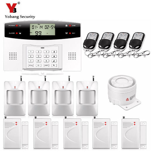 YoBang Security 433MHZ Voice Prompt LCD Keyboard Wireless Wired Home Security System GSM Alarm System Door Window Gap Sensor. yobang security lcd screen 433mhz remote control home security system gsm alarm system wireless pir motion door window sensor