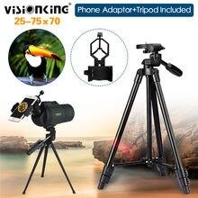 Visionking 25-75X70 Zoom Bak4 Multi-coated Wodoodporna Luneta Spotting Scope Polowanie Obserwowanie Ptaków w/Telefon Adapter Statywu