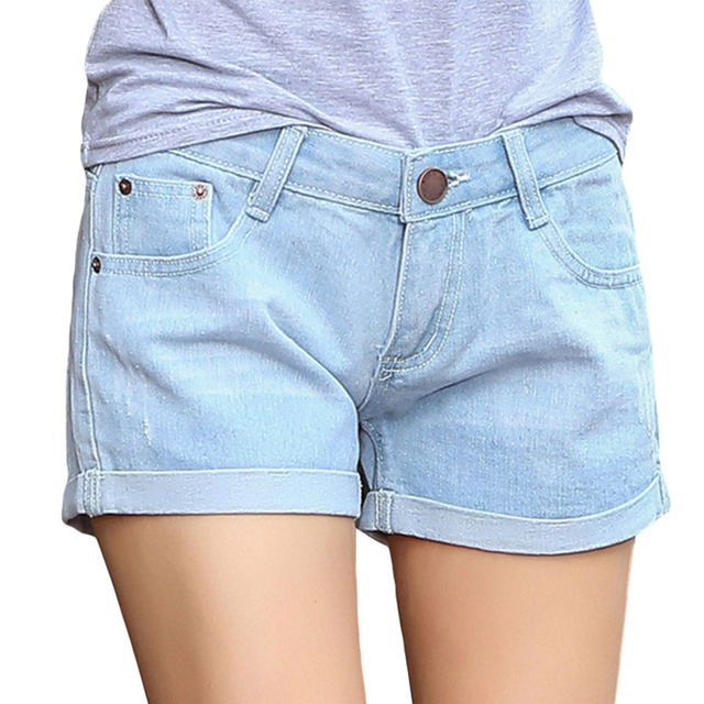 Hot Sale Fashion Women Short Summer Casual Korean Type Jeans Shorts Slim Fit Curling Denim Shorts Female Mid-waist short Pants