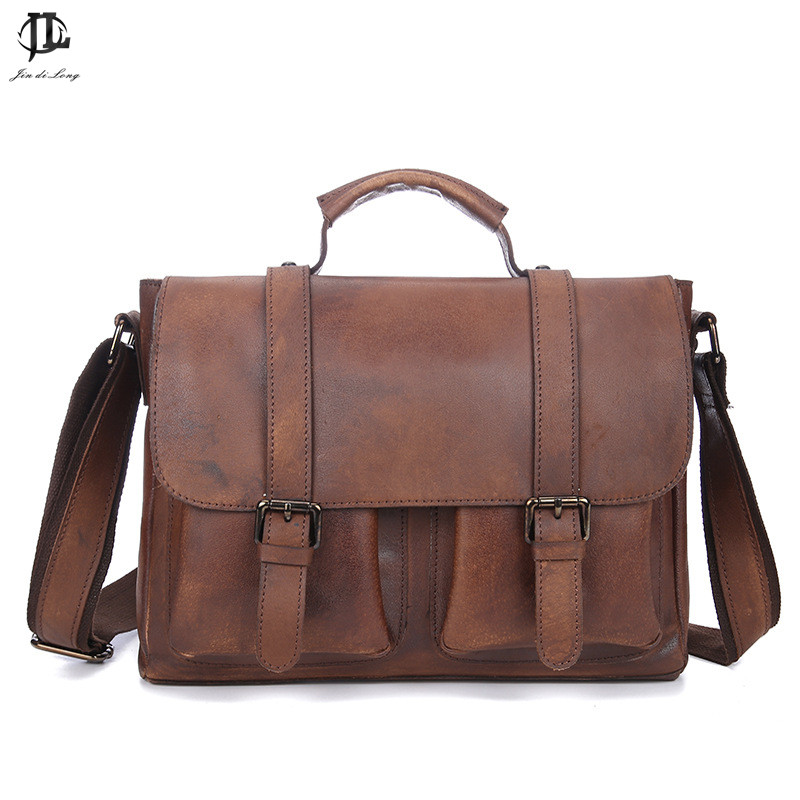 Briefcase Vintage Crazy Horse Genuine Leather Briefcase Handbag Shoulder Bussiness Zipper Laptop Messenger Bags New автомагнитола mystery mcd 569mpu