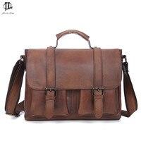 Briefcase Vintage Crazy Horse Genuine Leather Briefcase Handbag Shoulder Bussiness Zipper Laptop Messenger Bags New