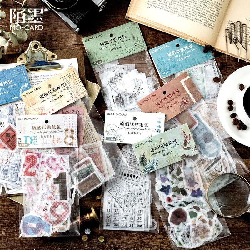 50pcs/pack Retro Ticket Plants Stationery Stickers Sealing Label Travel Sticker Diy Scrapbooking Diary Planner Album Decoration