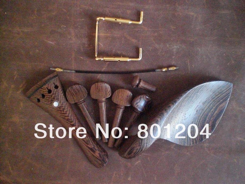 5 Sets WENGE Violin Fitting with GOLD chin rest screw and Tail Gut5 Sets WENGE Violin Fitting with GOLD chin rest screw and Tail Gut