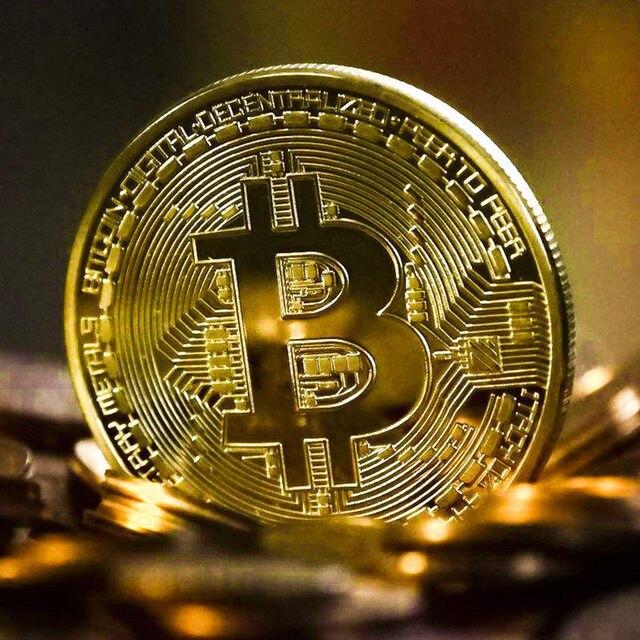 Gold Plated Bitcoin Coin Collectible Art Collection Gift Physical commemorative Casascius Bit BTC Metal Antique Imitation