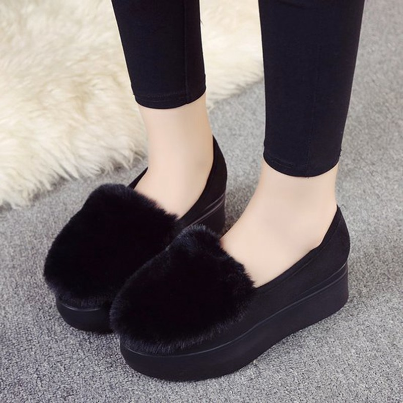 COOTELILI Winter Women Shoes Loafers Plus Size Creepers Flat Platform Casual Shoes Slip On Flat Shoes For Female Moccasins  (7)