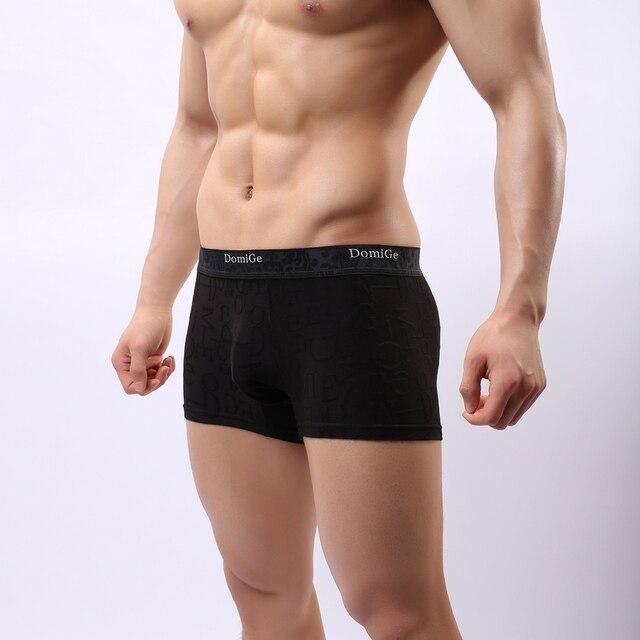DomiGe Men Underwear Sexy Bamboo Boxer Black Thongs G-String M/L/XL/2XL/3XL 5070