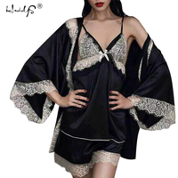 Sexy Women Lace Satin Pajamas Sets With Bathrobes Lingerie Three Pieces Sleepwear Set Female Nightwear Set High Grade Temptation