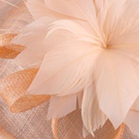 Шляпки из соломки синамей с вуалеткой перья, модные аксессуары для волос популярный свадебный Шляпы очень хороший Новое поступление несколько цветов - Цвет: Шампанское