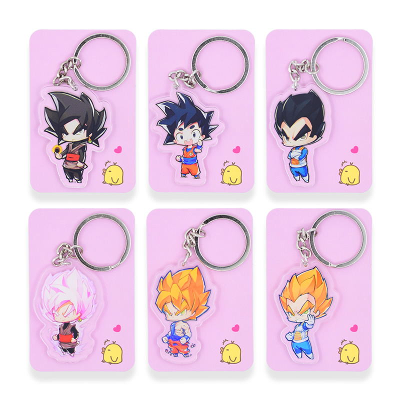 6 styles Dragon Ball GT Keychain Double Sided Chibi Cartoon Keyrings Goku Cute Anime Acrylic Key Chians Accessories PCB102-107 Сумка