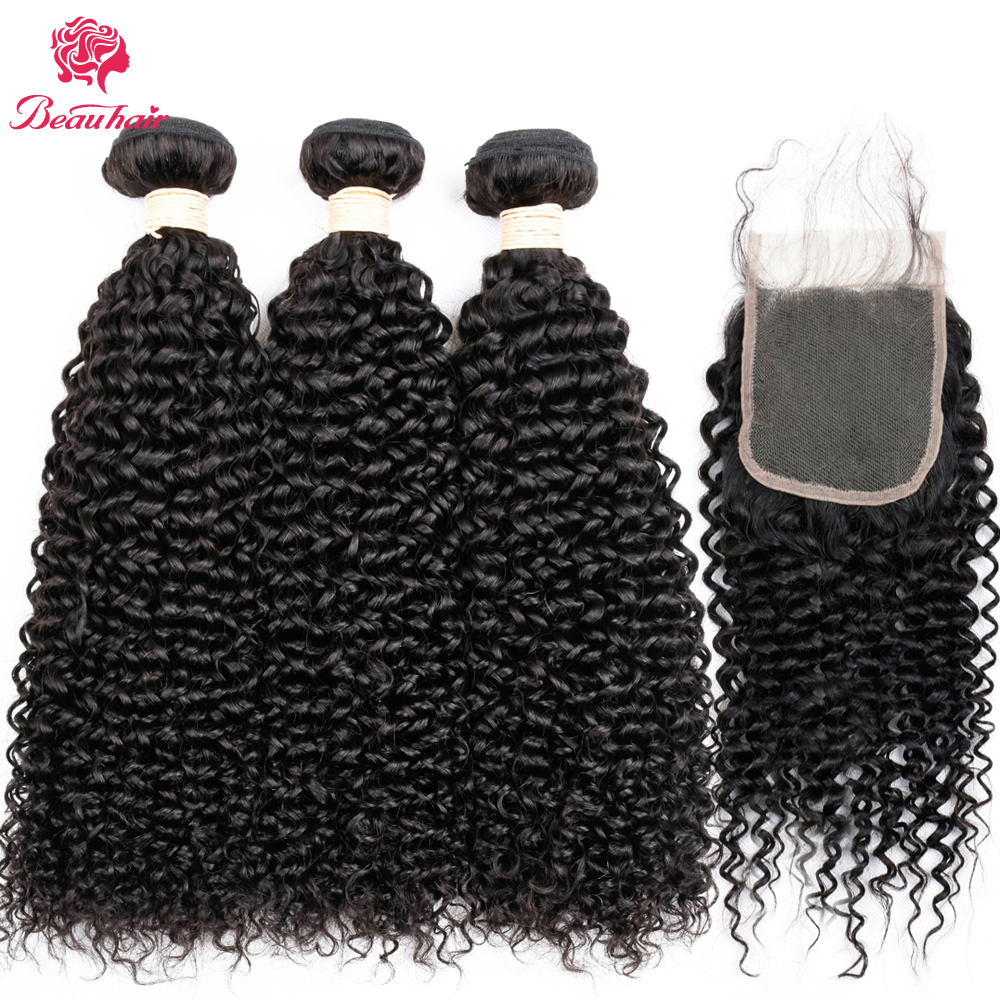 Malaysian Kinky Curly Human Hair 4 Bundles With Closure 4x4 Inch Middle Part 130% Density Beau Hair Non remy Buy 3 Get One Free