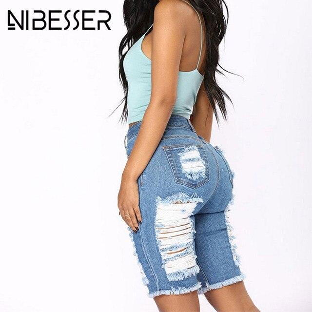 NIBESSER Casual Denim Shorts Fashion Cool Ripped Beach Hot Jeans Shorts Women Summer Sexy Frayed Hole High Waist KneeShort Jeans