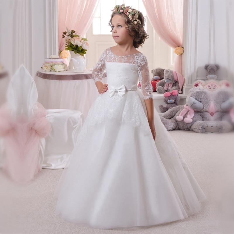 Girls Communion Gown White Lace Three Quarter O-Neck Lace Up Flower Girls Dresses for Wedding Vestidos Comunion Ninas стоимость