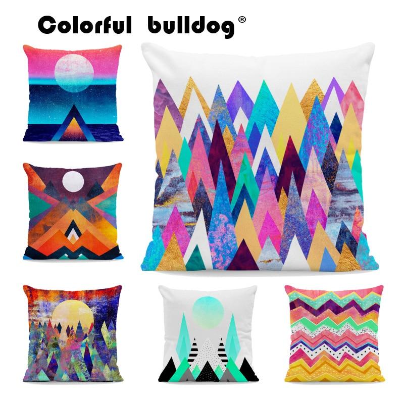 Colorful Geometric Pattern Cushion Angle Moon Graffiti Bohemian Pillow 45X45Cm Velvet Decor Sofa Living Room Abstract Pillow