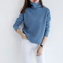 2019 New Thick Fashion Women 100% Cashmere Sweater Turtleneck Batwing Sleeve Pullovers Loose Knitted Sweaters