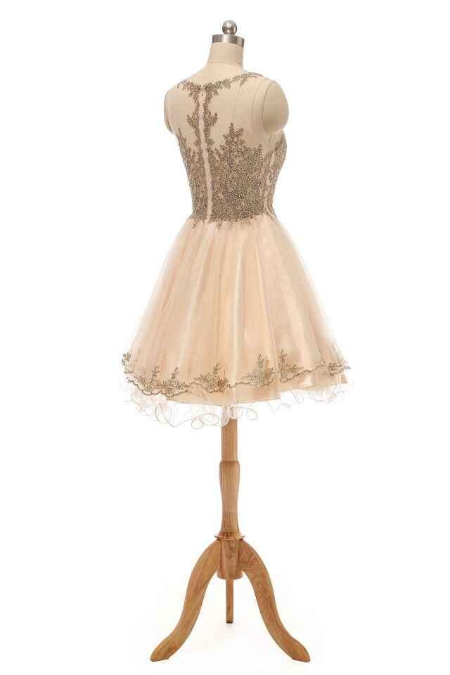 קצר מתוק 16 שמלות טול עם זהב תחרה Applique סקופ צוואר Junior שמלה לנשף לראות דרך חזרה שיבה הביתה שמלת הברך אורך