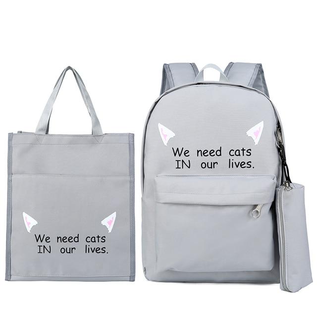 3 Pcs Nylon Teenagers School Backpack Solid Boy Schoolbag for Teenager Girl Student Book Bag Girls Satchel Female Schoolbag New
