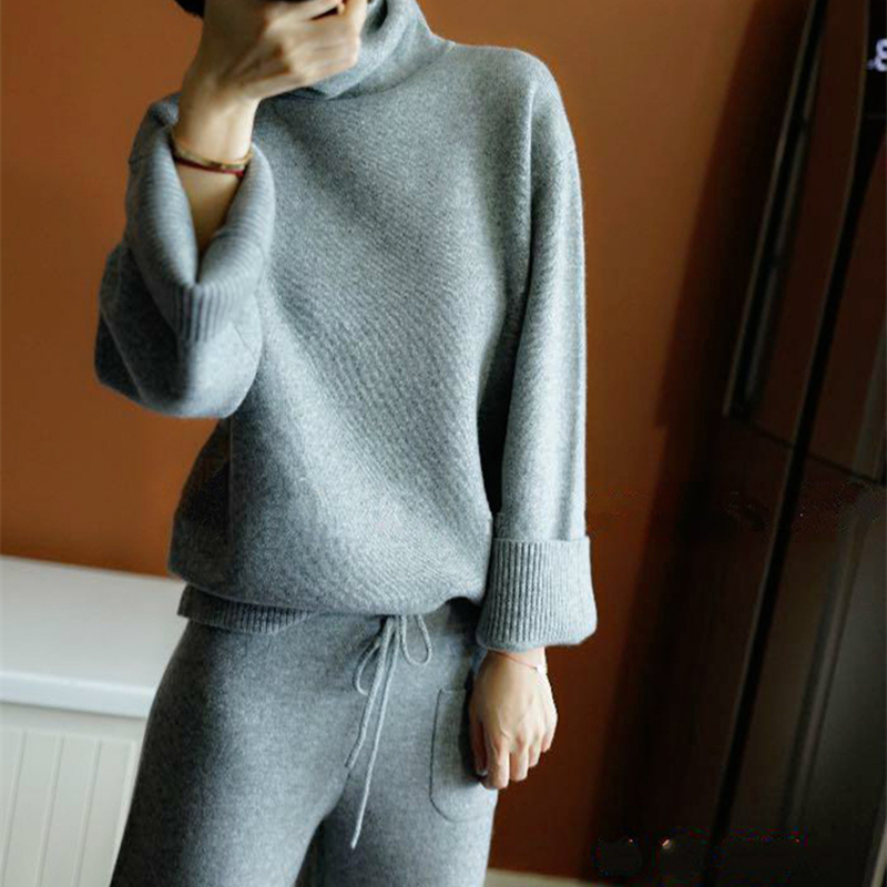 BELIARST2018 Autumn And Winter High Collar Cashmere Sweater Women's Suit Loose Casual Sweater Knitted Two-piece Wide Leg Pants