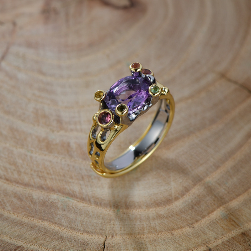 Silvology 925 Sterling Silver Natural Amethyst Rings Vintage Ethnic Elegant Luxurious Rings For Women 2019 Festival Jewelry GiftSilvology 925 Sterling Silver Natural Amethyst Rings Vintage Ethnic Elegant Luxurious Rings For Women 2019 Festival Jewelry Gift