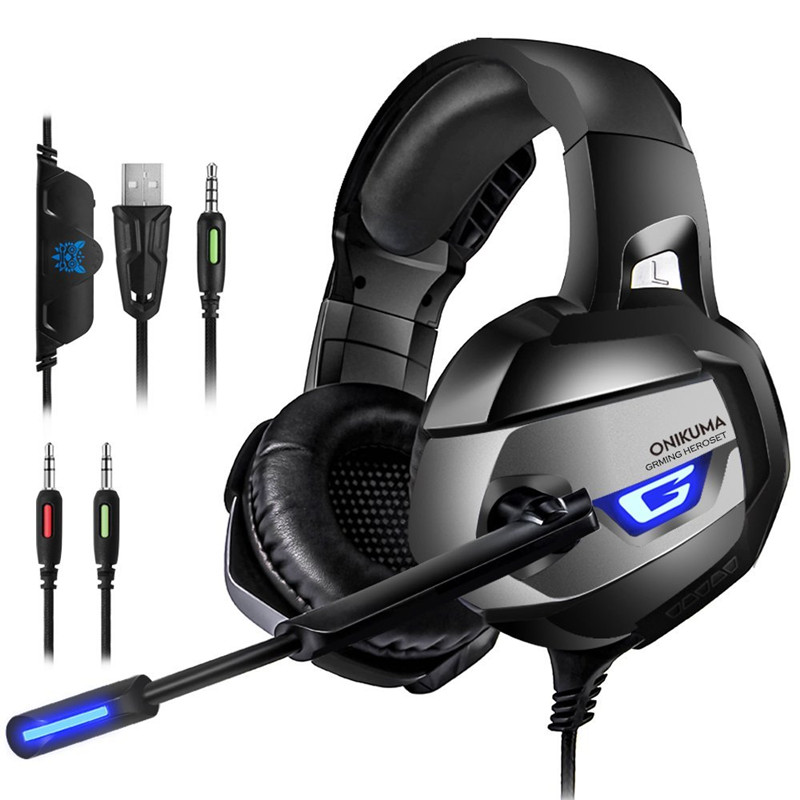 ONIKUMA K5 Gaming Headsets Gamer casque Deep Bass Gaming Headphones with Mic for Computer PC PS4 Laptop Notebook with LED light ttlife wired gaming headphones computer 3d stereo new best casque deep bass game headsets with mic pc gamer usb for led light