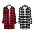 Branco vermelho E Preto Coreano Urban Streetwear Hip Hop Flanela Camisa xadrez Homens Camisa Hiphop Estendido Camisa Extra Longo Para homens