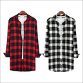 Red White And Black Korean Urban Streetwear Hip Hop Flannel Plaid Shirt Men Hiphop Extended Shirt Extra Long Shirt For Men