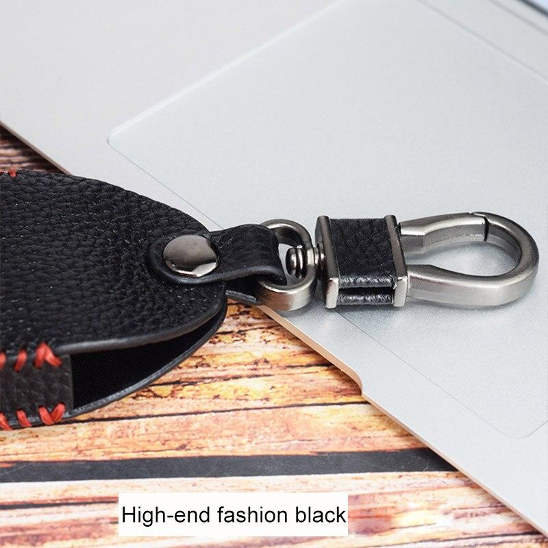 Genuine Leather Key Case Men's Car Key Holder Housekeeper Organizer Keys Chain Transparent Window Unisex Leather Key Wallet New