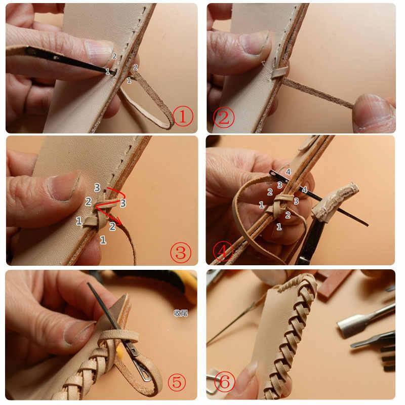 Nuovo 2pcs FAI DA TE cucito artigianale in pelle strumento di cuoio di lavoro a maglia ago doppio foro della corda del cuoio del merletto ago ago per cucire A Mano