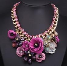 Flores Color de nueva moda cristal collar de la declaración collares Vintage gargantilla clavícula exagerado collar accesorios femeninos(China (Mainland))