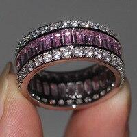 Модные украшения Для женщин Обручение кольцо Принцесса 15ct 5A камень циркон Розовый CZ стерлингового серебра 925 женский обручальное кольцо