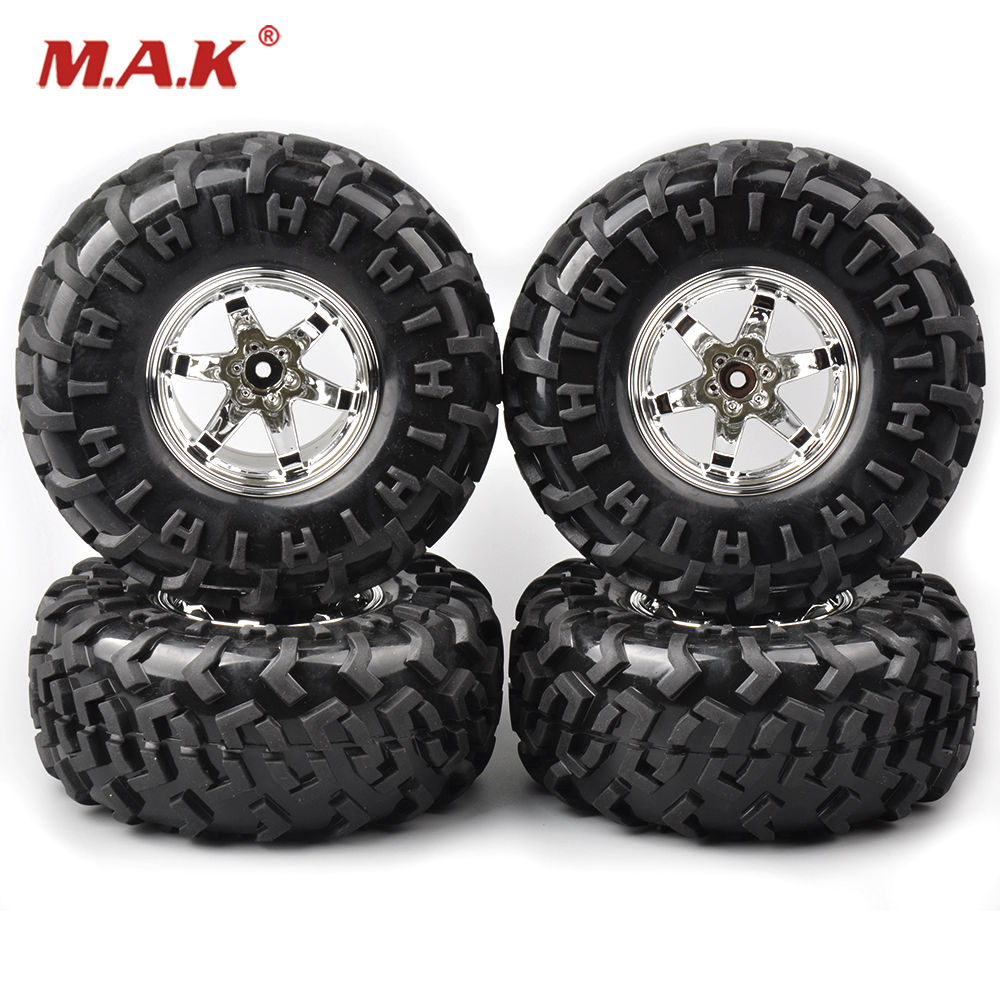4Pcs/set rubber tire 130mm Wheel 12mm Hex Hub 3001 Climbing Tire Rims For HSP Racing 1:10 RC  Rock Climbing Crawler Bigfoot Car 1 10 rubber on road racing car model replacement tire black 4 pcs