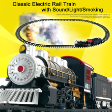 Classic Toys for children Electric Rail Car Railway Vehicles with Sound Light Smoking Electric car with