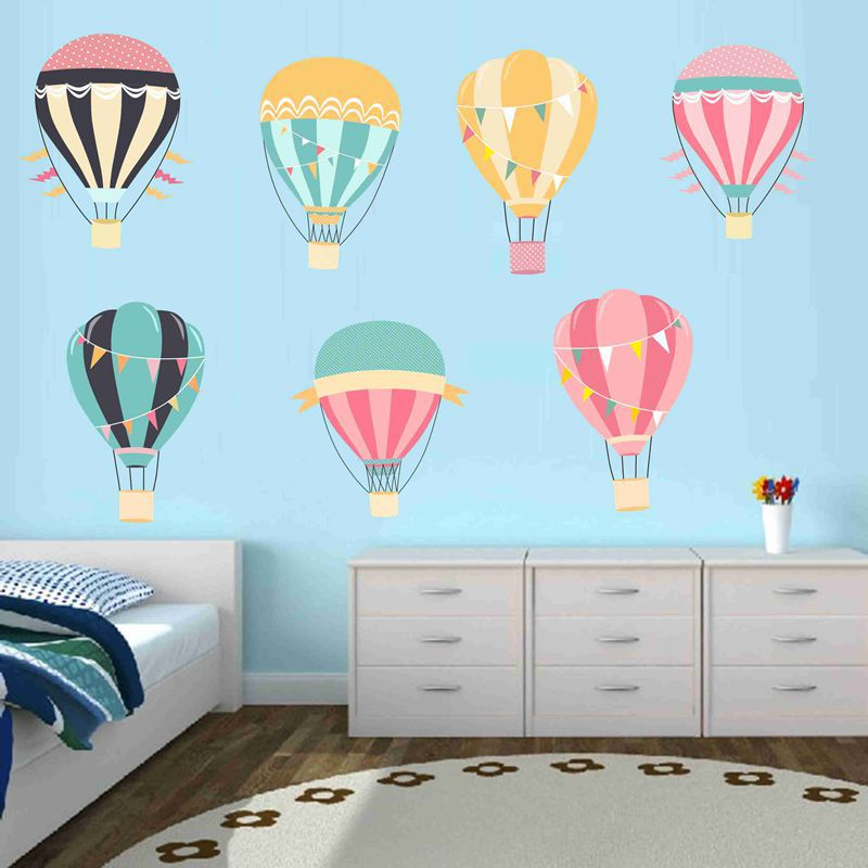 Kids Name Wall Stickers Hot Air Balloons Stars Spots Bubbles Nursery Baby Boy