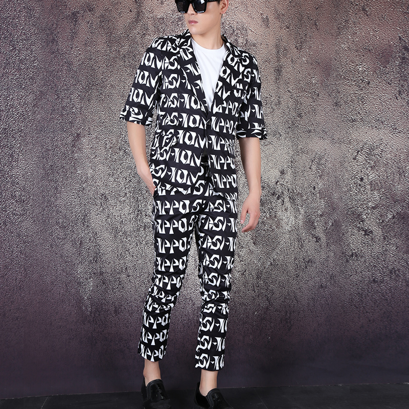 M-6XL!! Tide Style Fashion Custom Large Size Letters Visual Sleeves Nightclub Singer Hairdresser Studio Dress Suits.