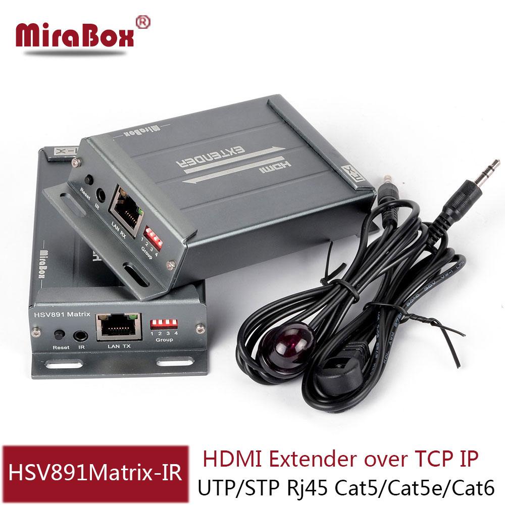 HDMI over cat5/cat5e/cat6  matrix Extender IR over IP/TCP/UTP with rj45 jack HDMI ethernet Transmitter and Receiver hdv e100 dc 5v 12v 120m hdmi extender cat 5e 6 with ir and tcp ip us uk eu plug