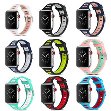Sport silicone strap band for apple watch iwatch 3/2/1 38/42 mm bracelet wrist rubber belt watchband+metal Connector adapter